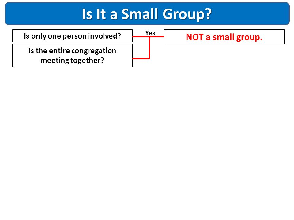 Is It a Small Group NOT a small group. Is only one person involved