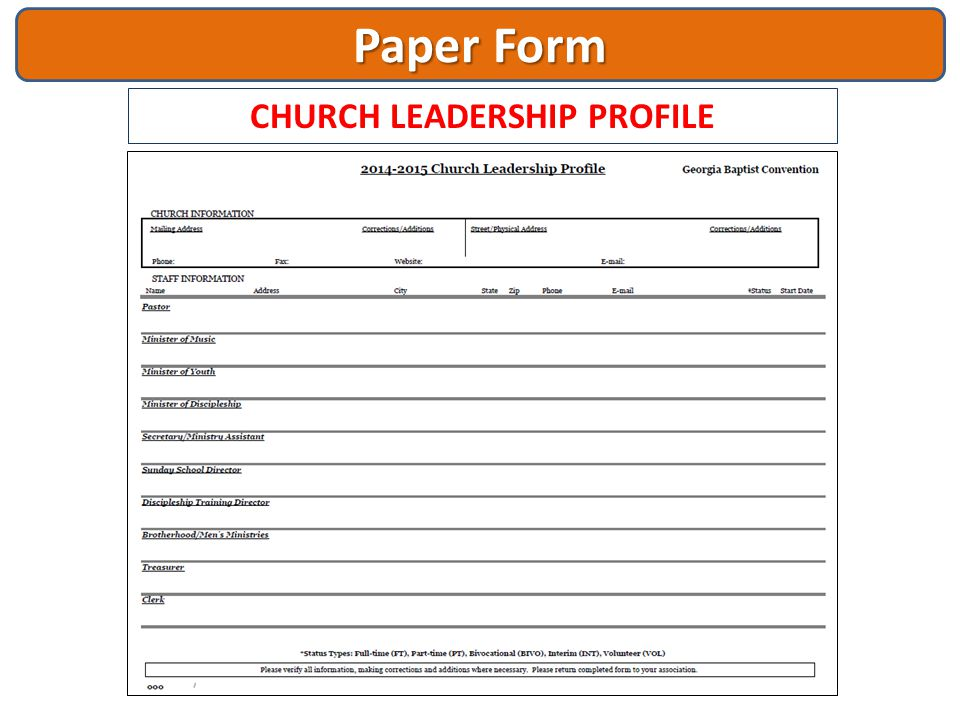 CHURCH LEADERSHIP PROFILE