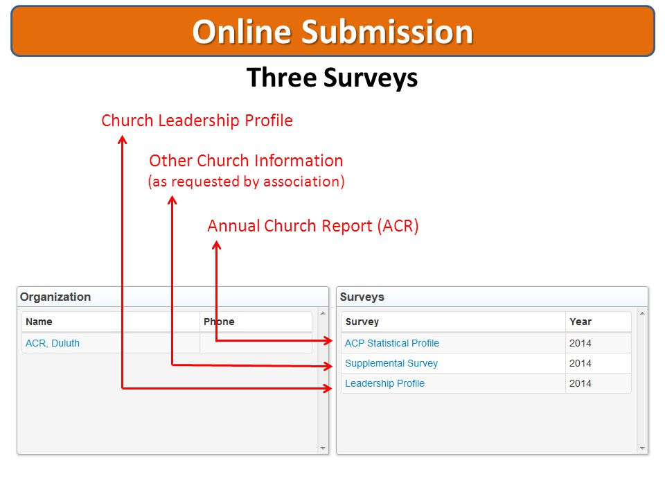 Online Submission Three Surveys Church Leadership Profile