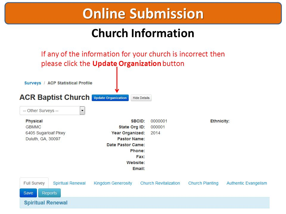 Online Submission Church Information