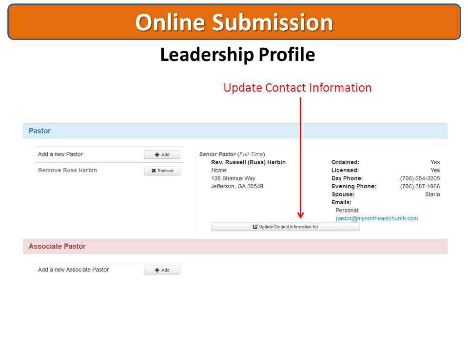 Online Submission Leadership Profile
