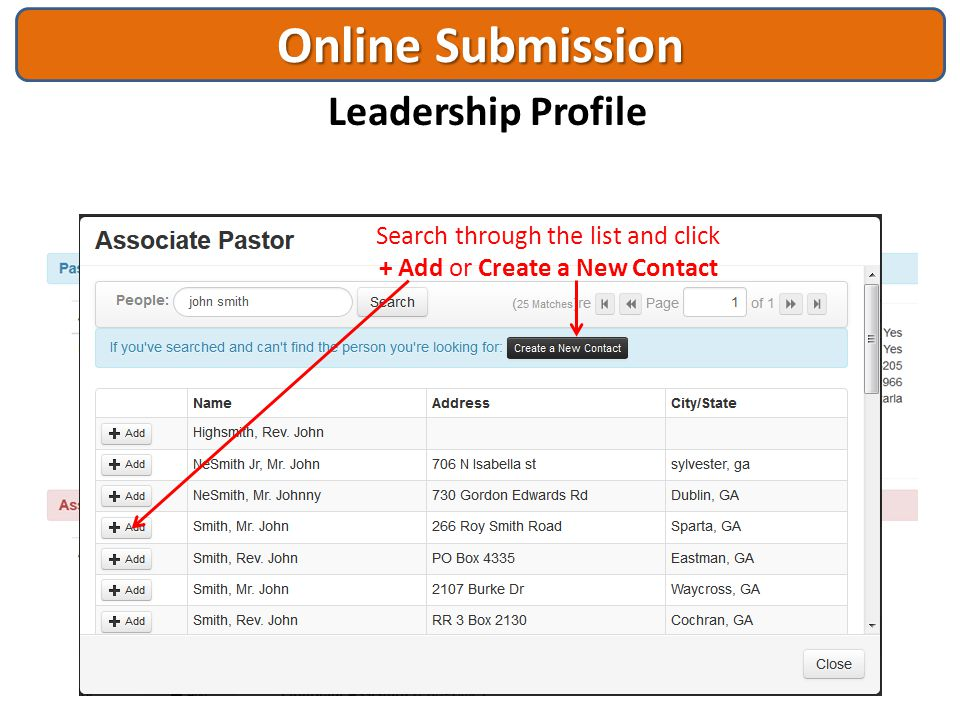 Online Submission Leadership Profile Search through the list and click