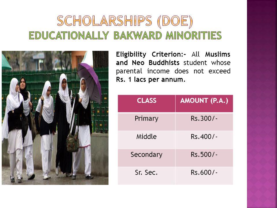 Scholarships (doe) Educationally bakward minorities