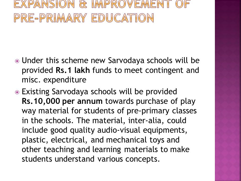 Expansion & Improvement of Pre-Primary Education