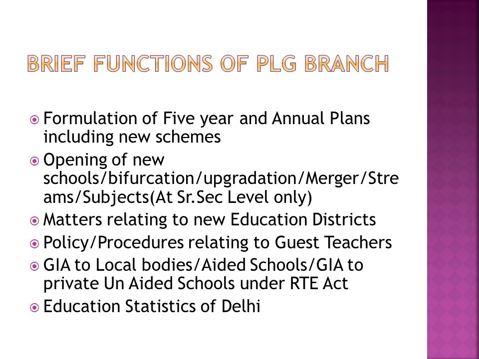 Brief Functions of PLG Branch