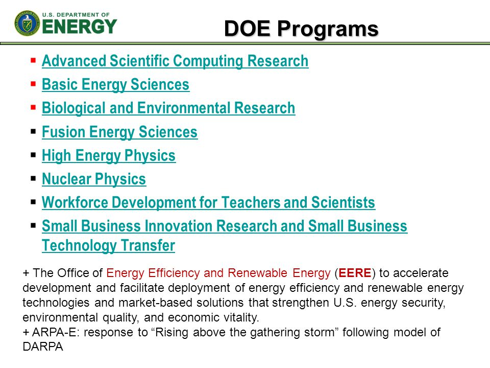 DOE Programs Advanced Scientific Computing Research