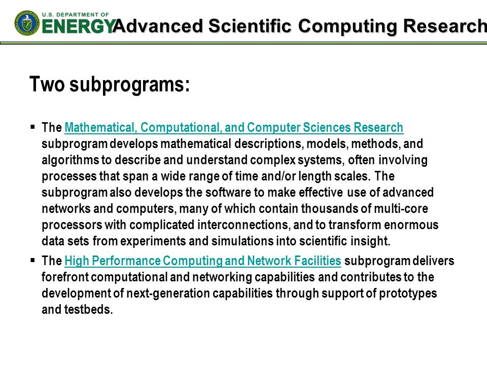 Advanced Scientific Computing Research