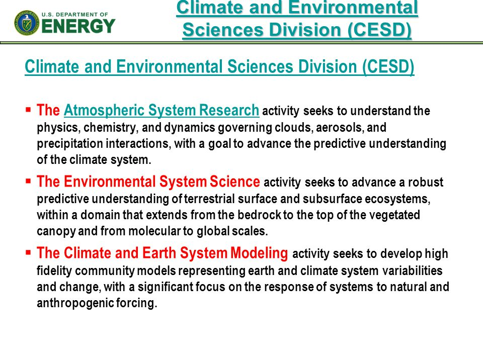 Climate and Environmental Sciences Division (CESD)