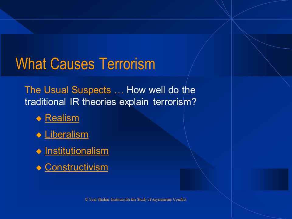 What Causes Terrorism The Usual Suspects … How well do the traditional IR theories explain terrorism