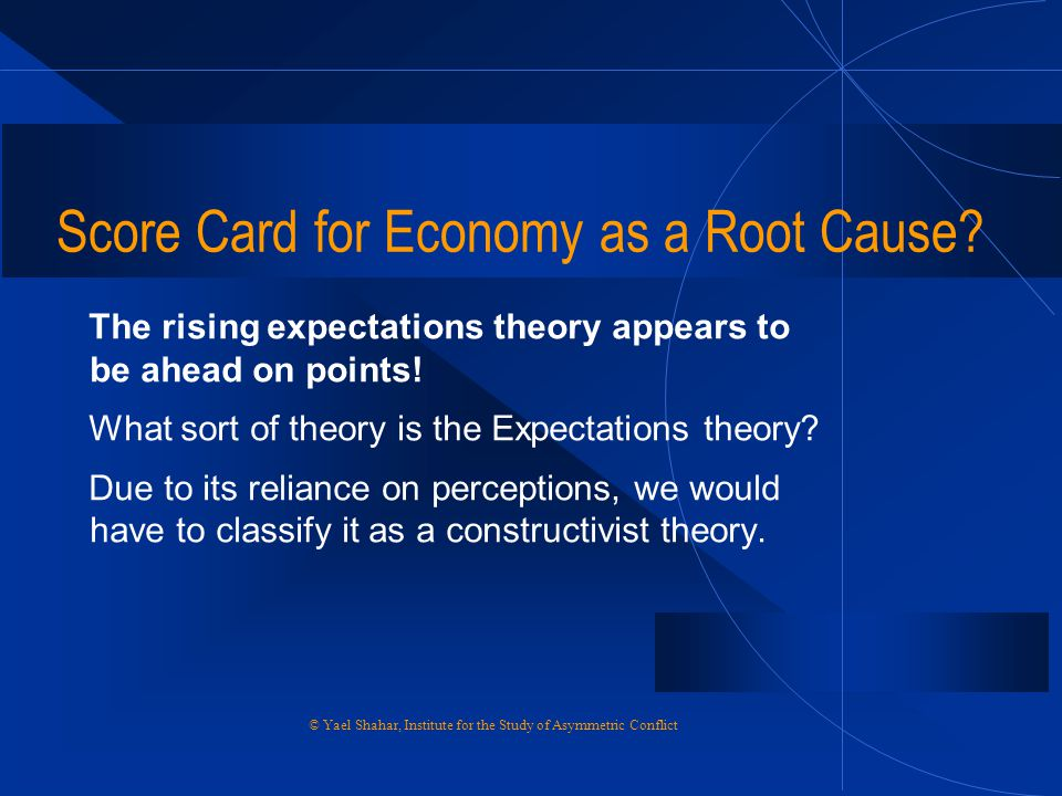 Score Card for Economy as a Root Cause