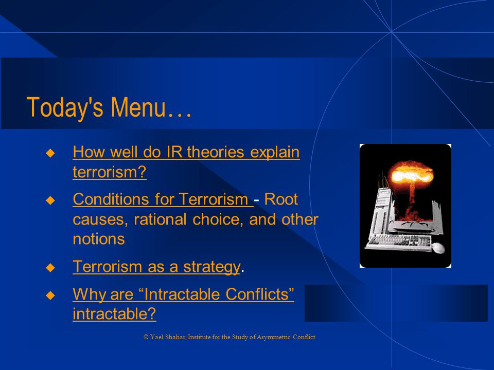 Today s Menu… How well do IR theories explain terrorism