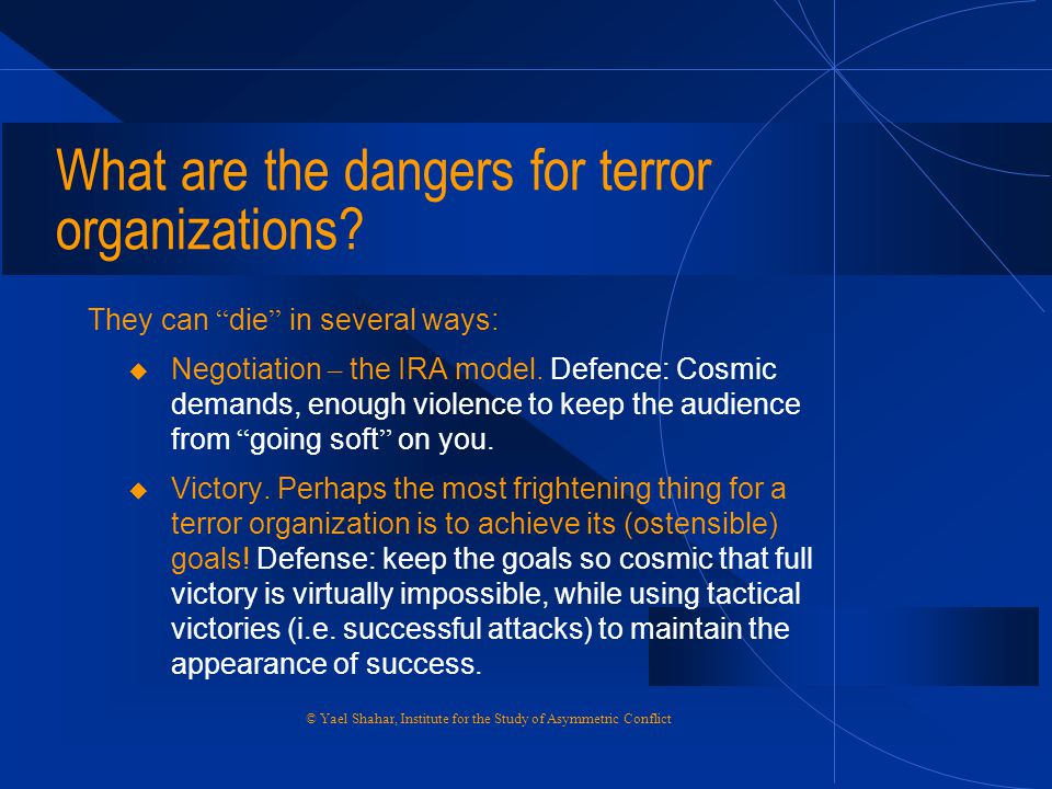 What are the dangers for terror organizations