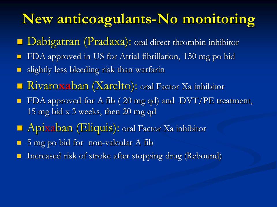 New anticoagulants-No monitoring