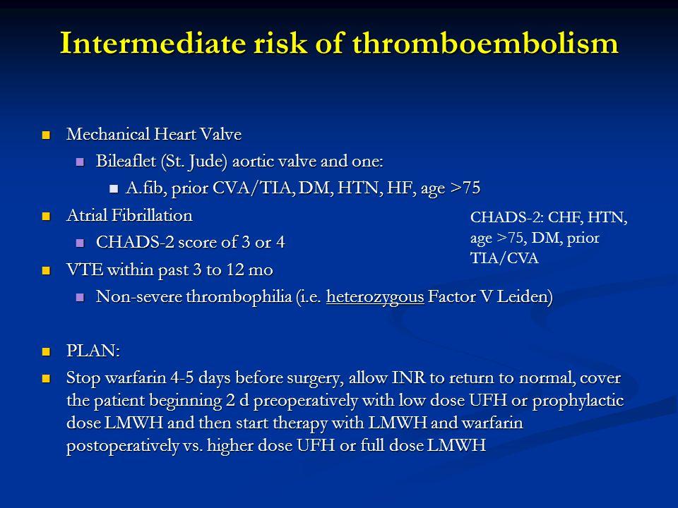 Intermediate risk of thromboembolism