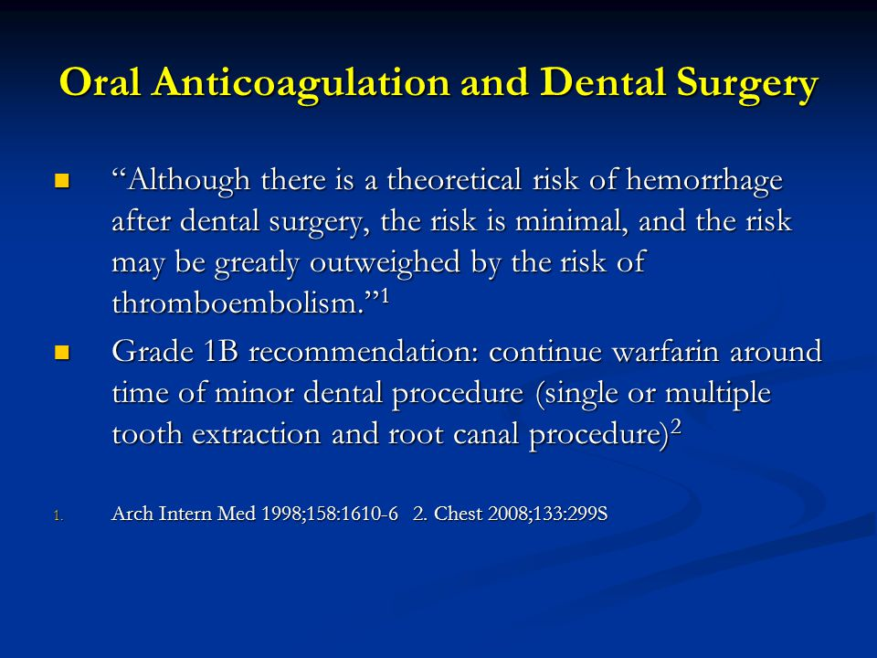 Oral Anticoagulation and Dental Surgery
