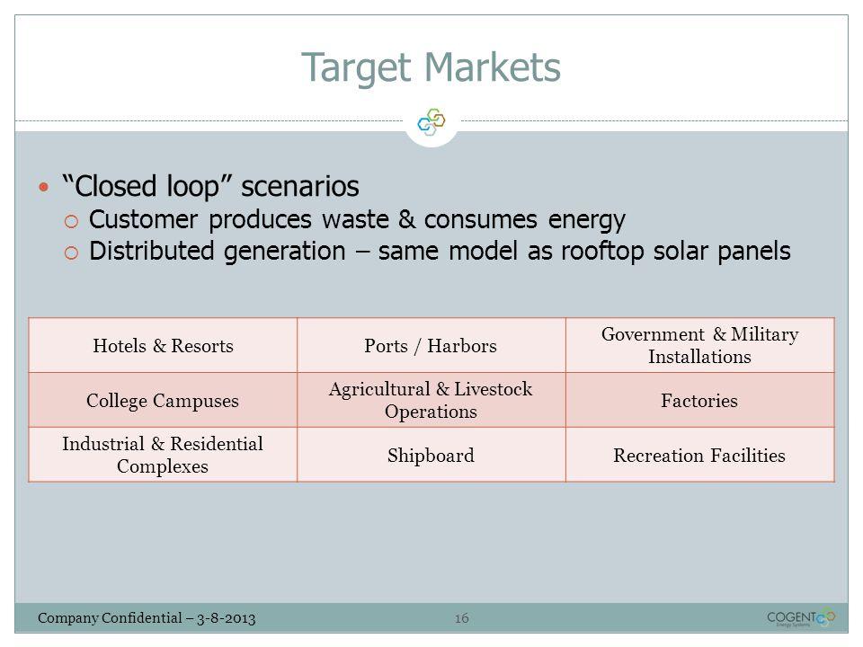 Target Markets Closed loop scenarios