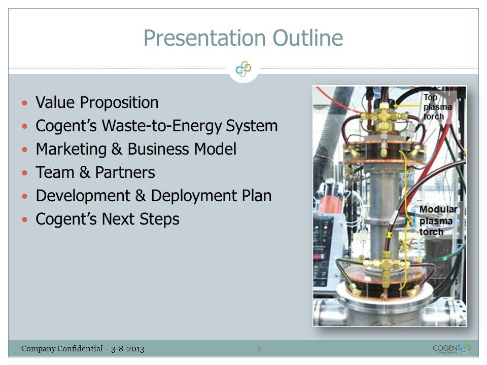Presentation Outline Value Proposition Cogent's Waste-to-Energy System