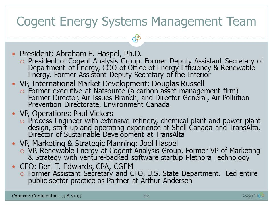 Cogent Energy Systems Management Team
