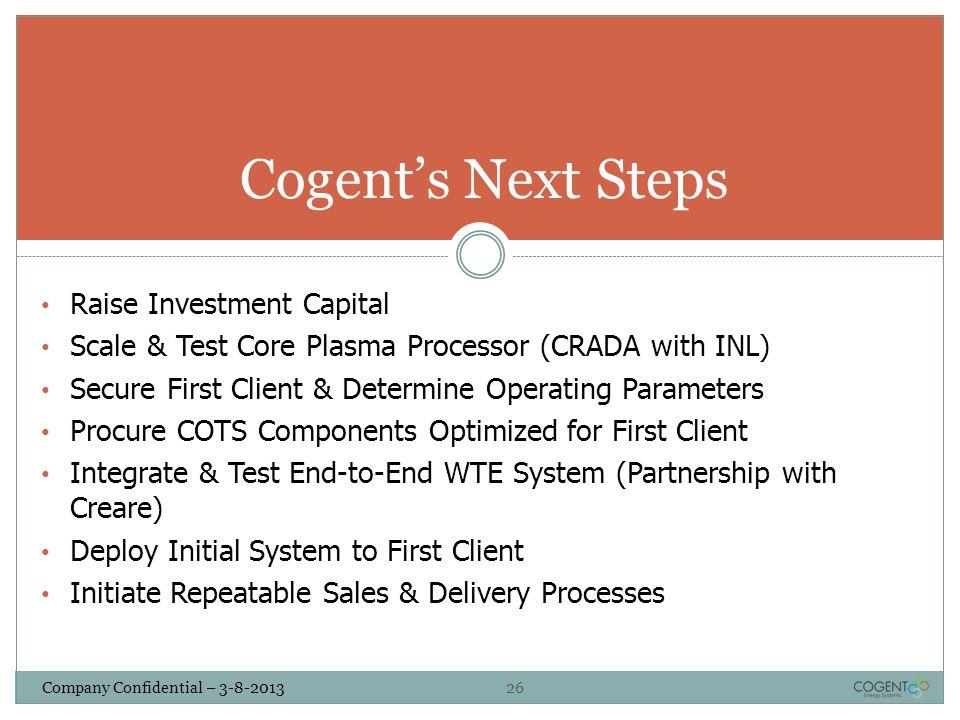 Cogent's Next Steps Raise Investment Capital