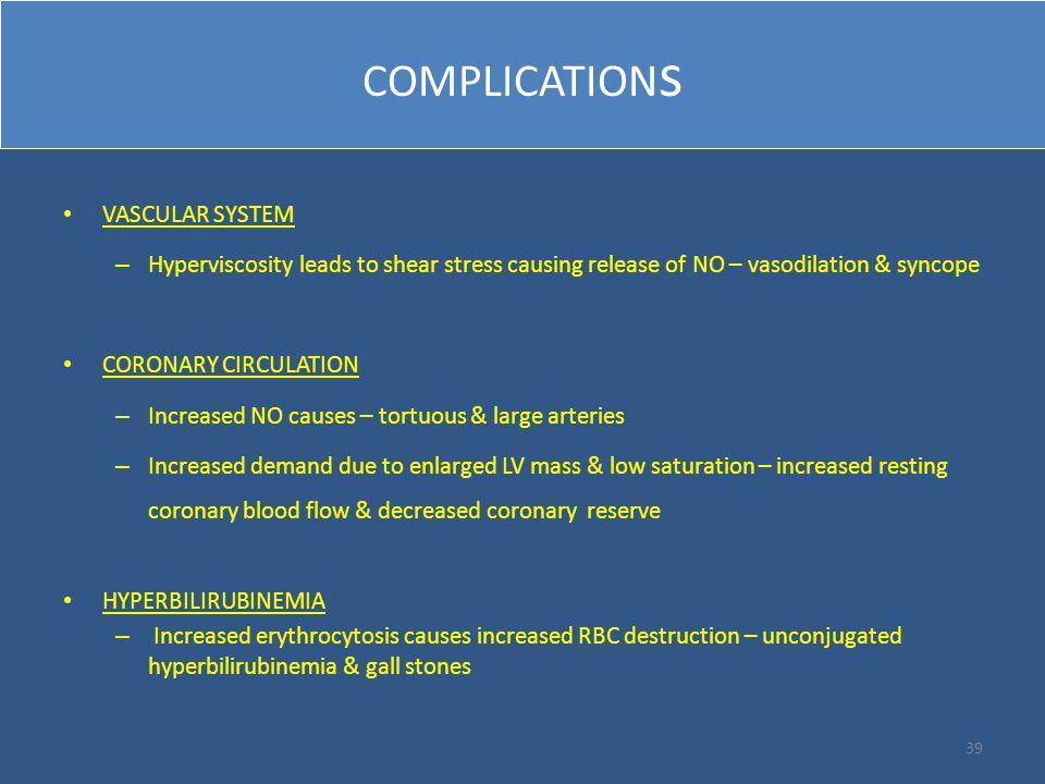 COMPLICATIONs VASCULAR SYSTEM