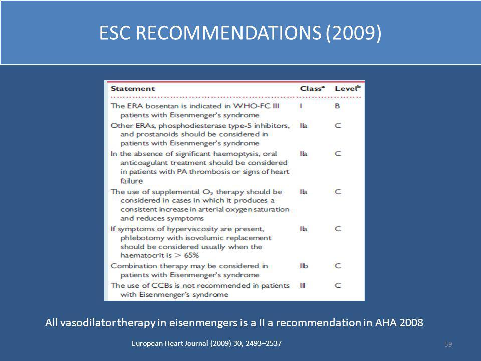 ESC RECOMMENDATIONS (2009)
