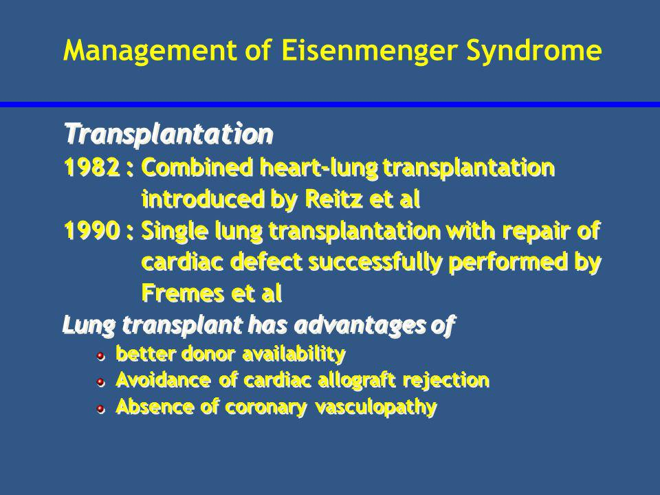 Management of Eisenmenger Syndrome