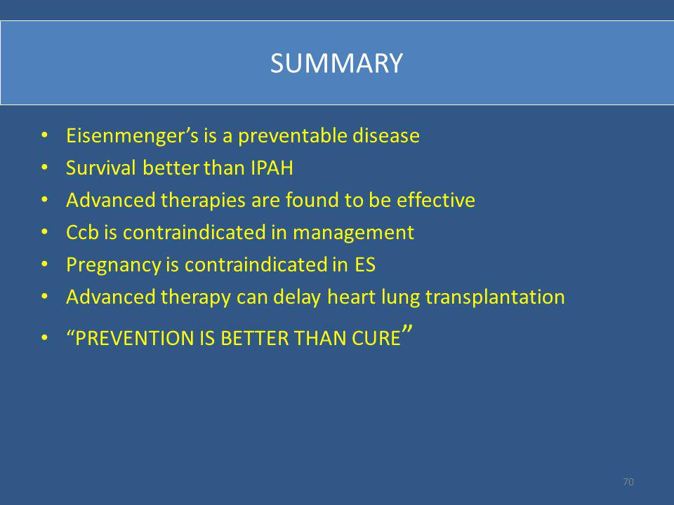 SUMMARY Eisenmenger's is a preventable disease