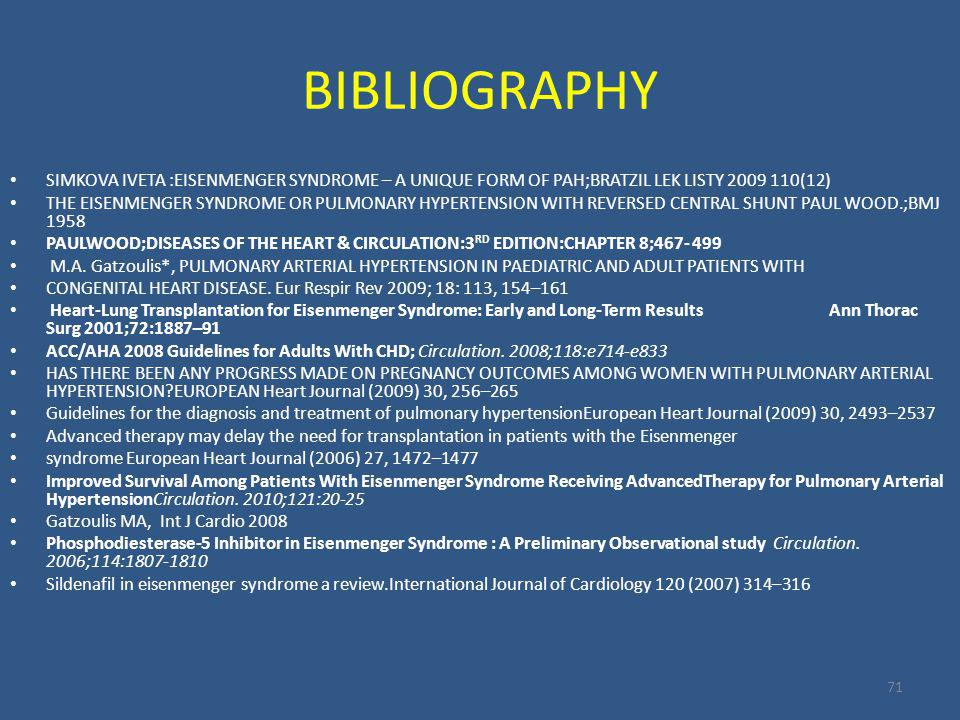 BIBLIOGRAPHY SIMKOVA IVETA :EISENMENGER SYNDROME – A UNIQUE FORM OF PAH;BRATZIL LEK LISTY 2009 110(12)