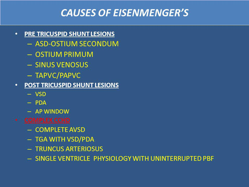 CAUSES OF EISENMENGER'S