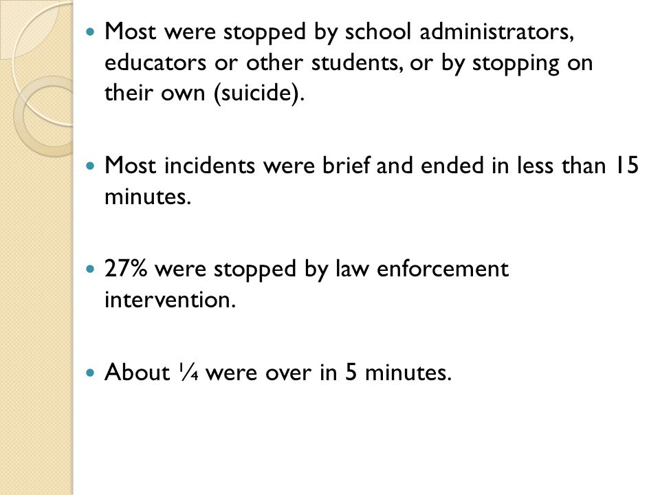 Most were stopped by school administrators, educators or other students, or by stopping on their own (suicide).