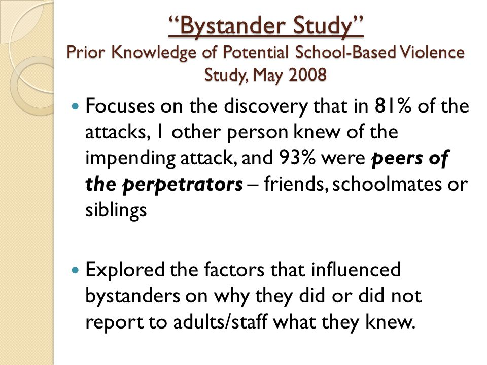 an analysis of school violence A meta-analysis of the vast literature on corporal punishment, however conflict resolution programs to reduce further school violence, and restoration of school environment after a violent incident.