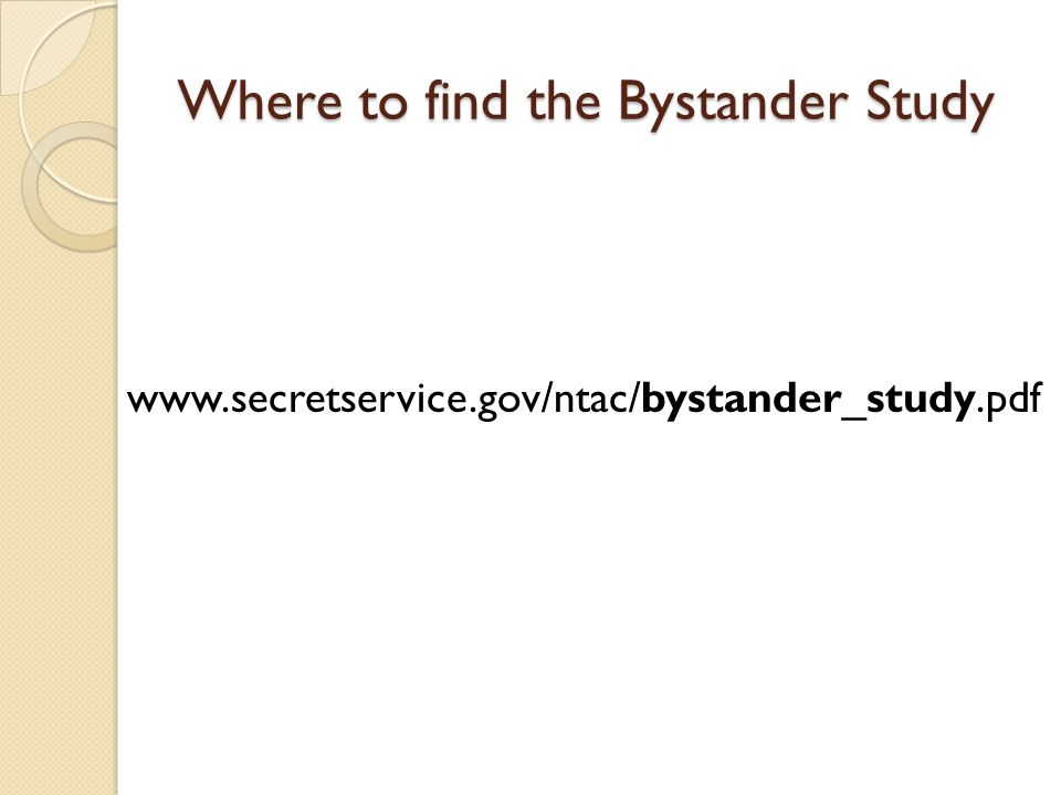 Where to find the Bystander Study