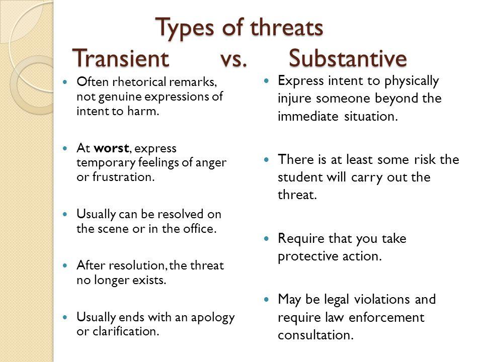 Types of threats Transient vs. Substantive