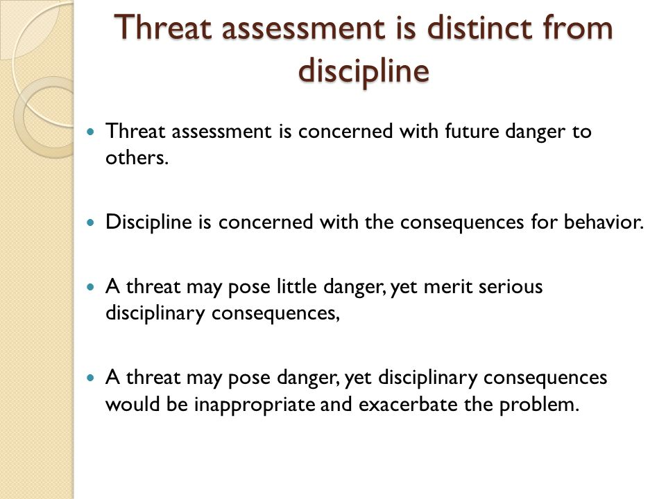 Threat assessment is distinct from discipline