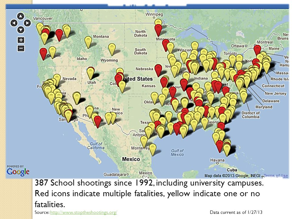 387 School shootings since 1992, including university campuses.