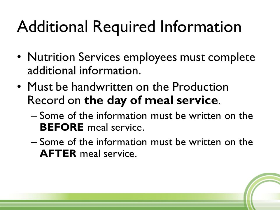 Additional Required Information