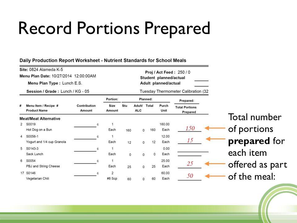 Record Portions Prepared