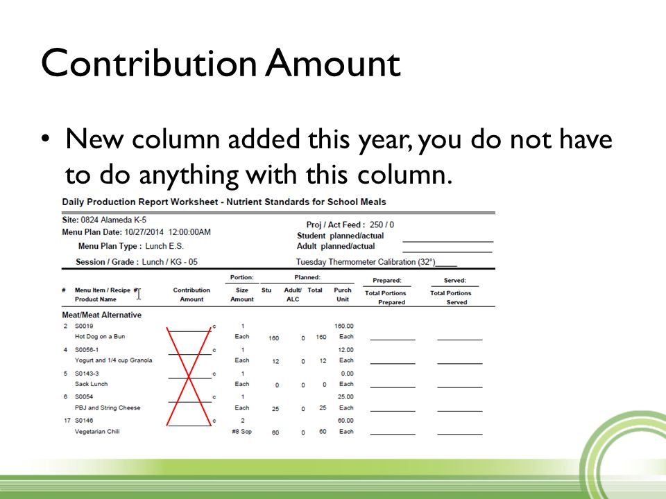 Contribution Amount New column added this year, you do not have to do anything with this column.