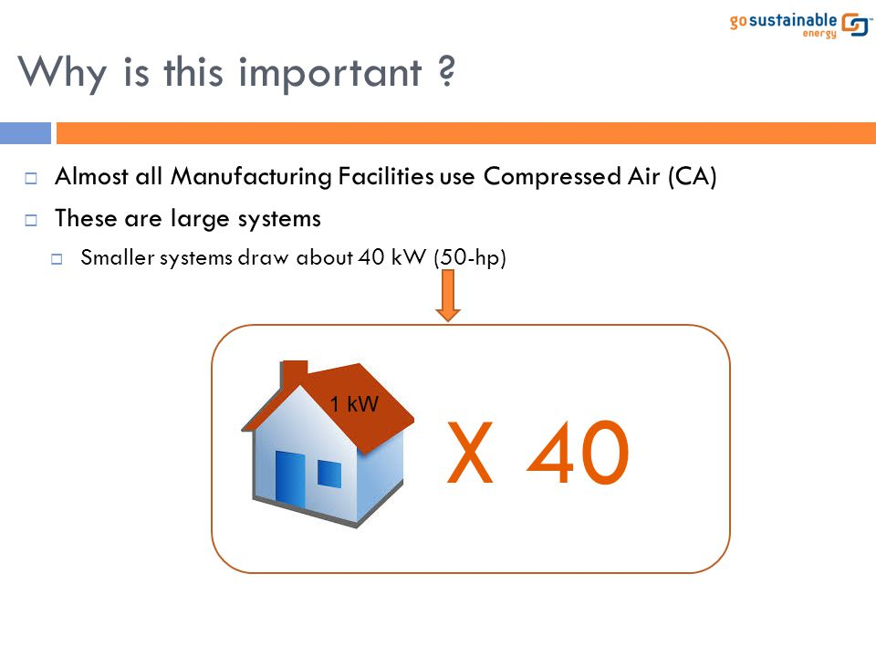 Why is this important Almost all Manufacturing Facilities use Compressed Air (CA) These are large systems.