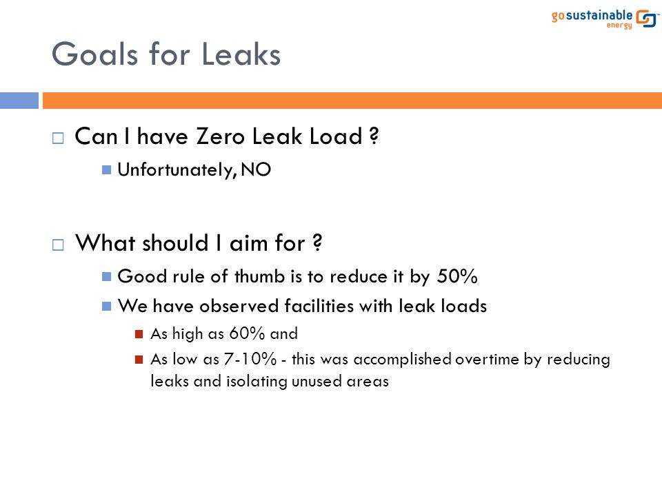 Goals for Leaks Can I have Zero Leak Load What should I aim for