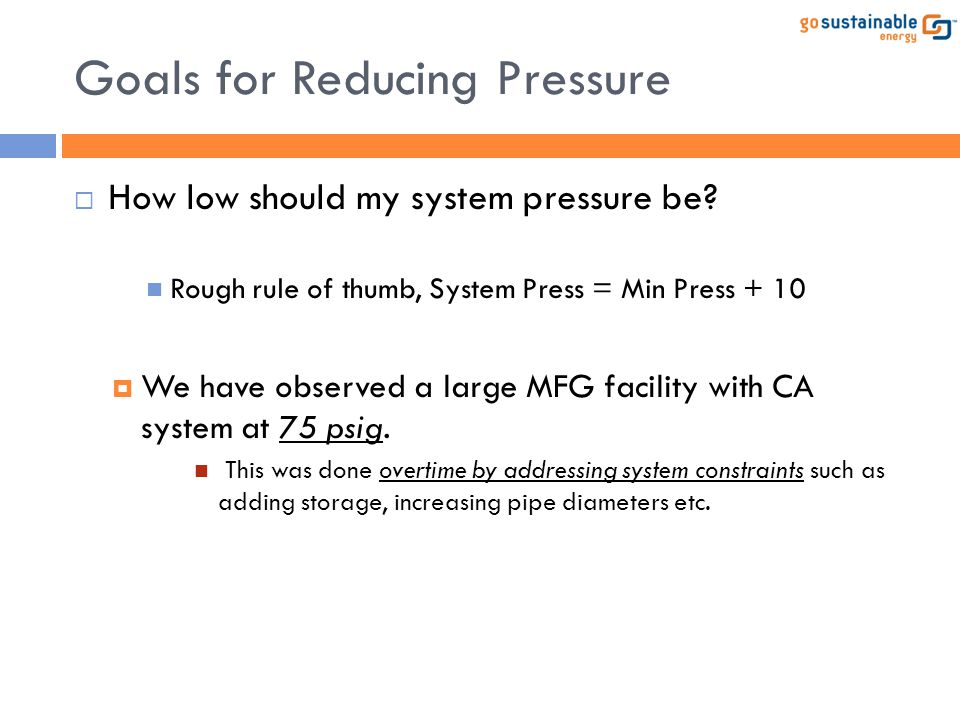 Goals for Reducing Pressure