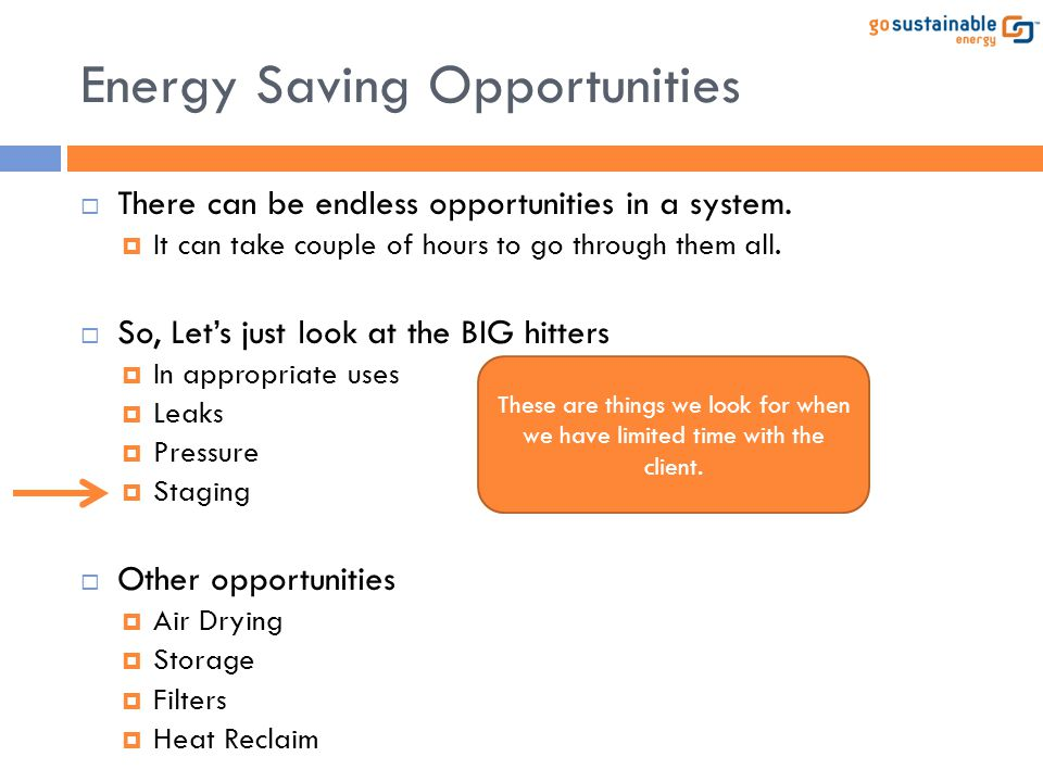 Energy Saving Opportunities