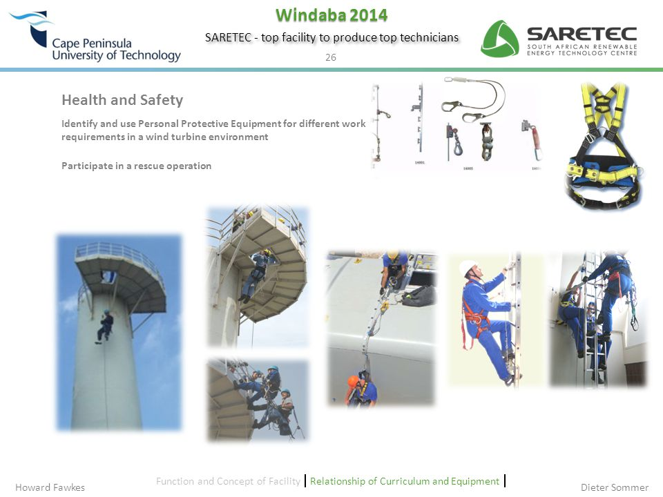 Health and Safety Identify and use Personal Protective Equipment for different work requirements in a wind turbine environment.