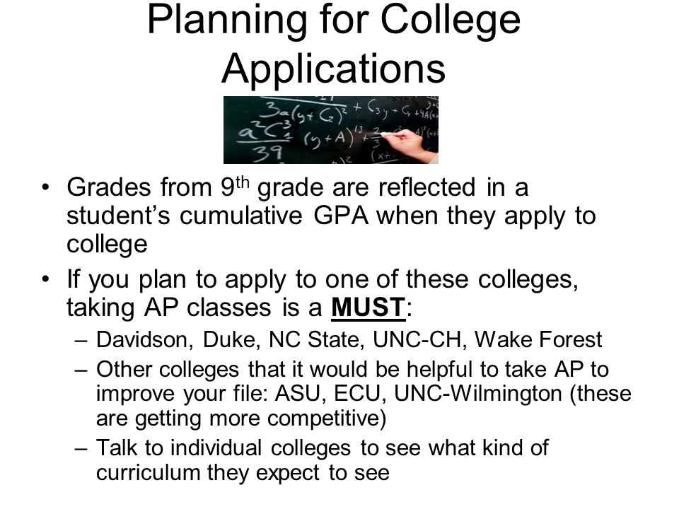 Planning for College Applications