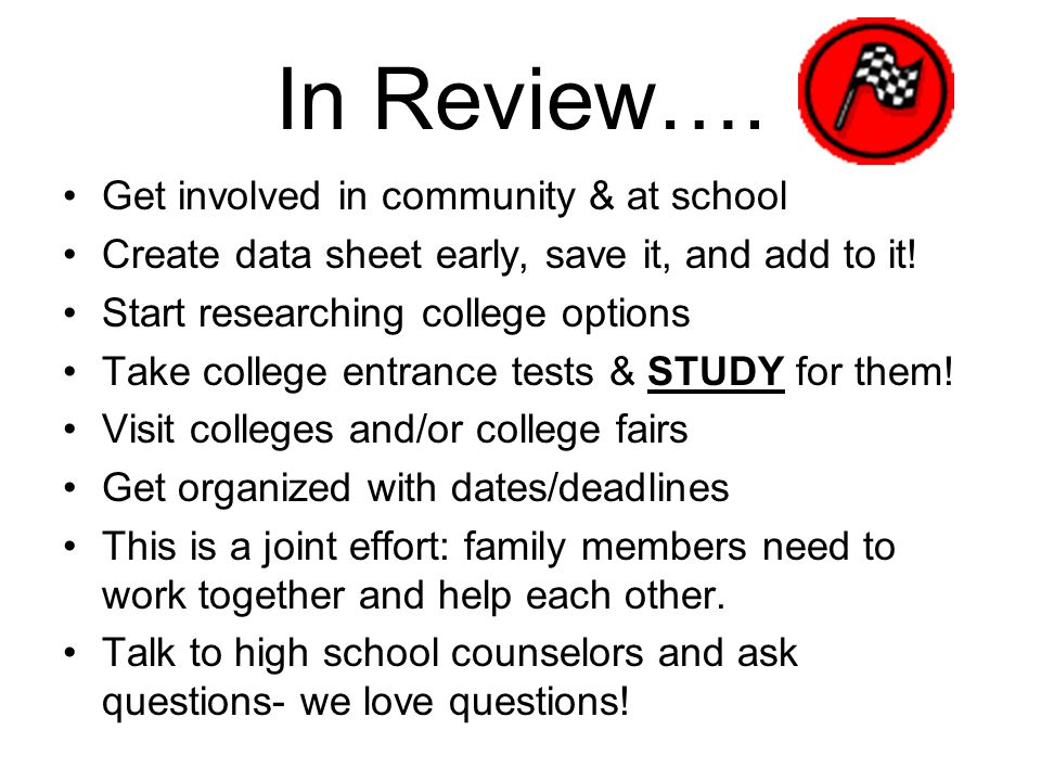 In Review…. Get involved in community & at school