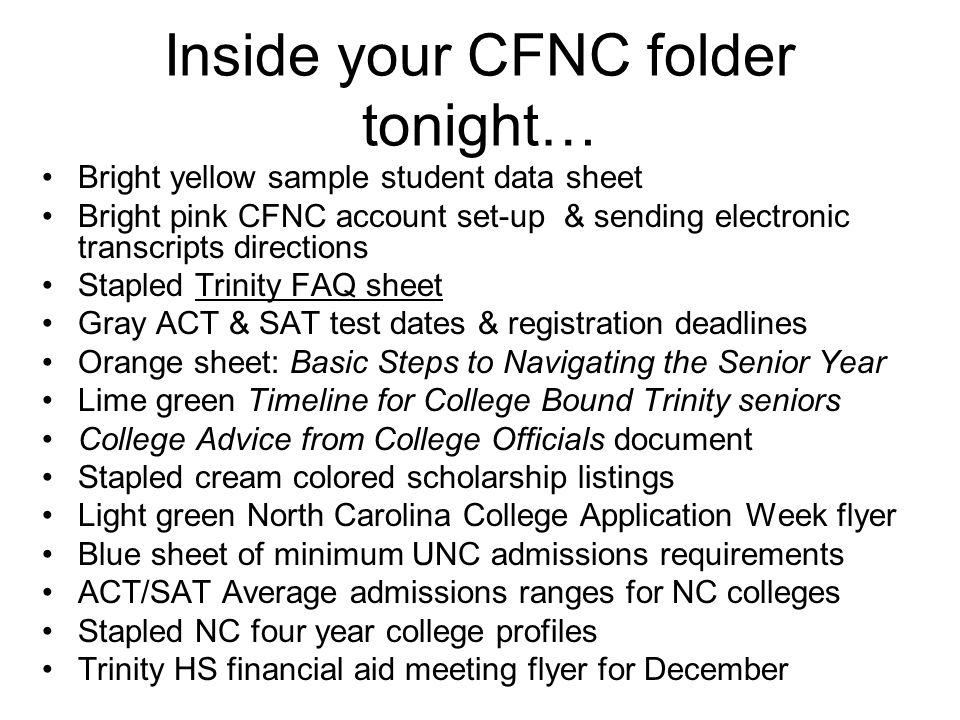 Inside your CFNC folder tonight…
