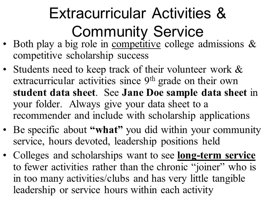 Extracurricular Activities & Community Service