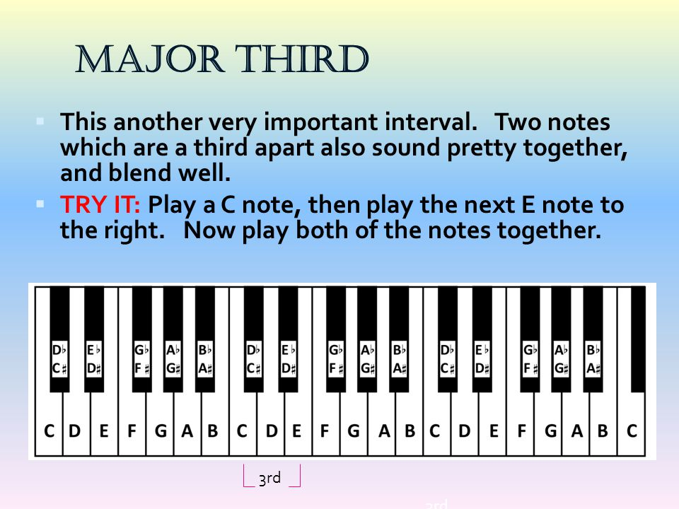 Major Third This another very important interval. Two notes which are a third apart also sound pretty together, and blend well.