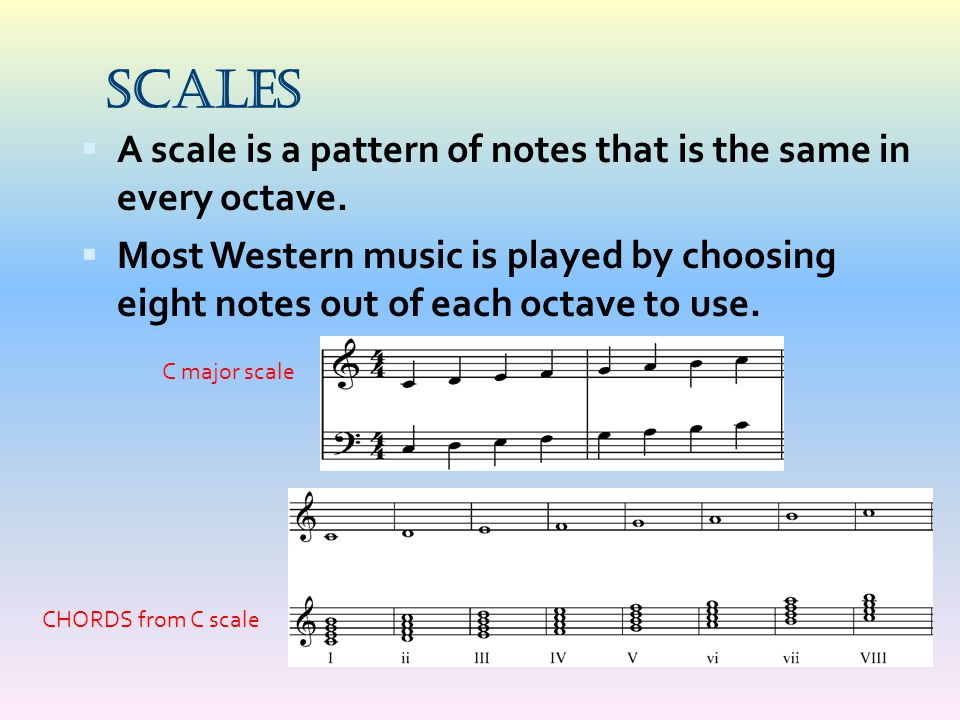 Scales A scale is a pattern of notes that is the same in every octave.