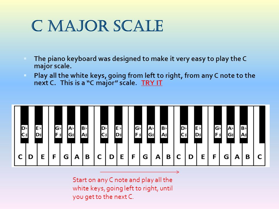 C Major Scale The piano keyboard was designed to make it very easy to play the C major scale.